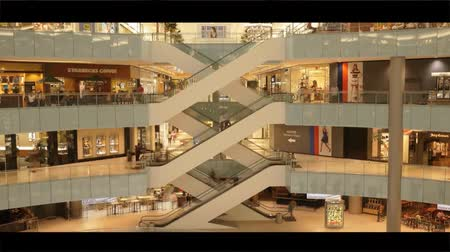 a Large Shopping Center in Dallas. View of Escalators Which Lift and Descend the People on the Upper Floors. Many People Come to Shop. Dostupné videozáznamy