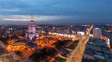 Palace of Culture and Science in Warsaw, Night, lights. Poland . Shot in 4K (ultra-high definition (UHD)).