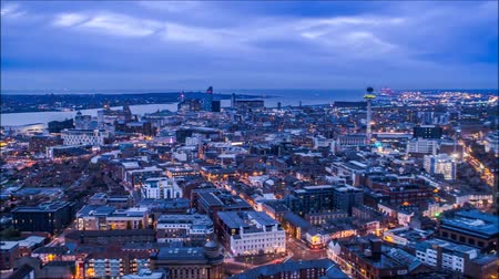 The View From Liverpool High. The Sun Went Down Over the Horizon and Darkness Falls. on the Streets Light up All the Lights.