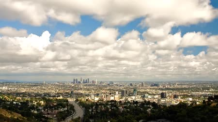 los angeles skyline : Los Angeles in Cloudy Weather. a View of The Wide Road, the Road Goes a Lot of Cars. on the Side of the Road Grow Green Trees. Stock Footage