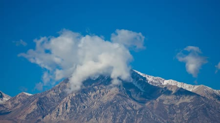 eastern sierra : Clouds Covered The Tops of Mountains in California Stock Footage