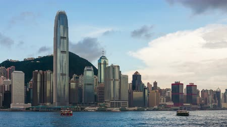 kerület : Time lapse shot of Hong Kong cityscape, China Stock mozgókép