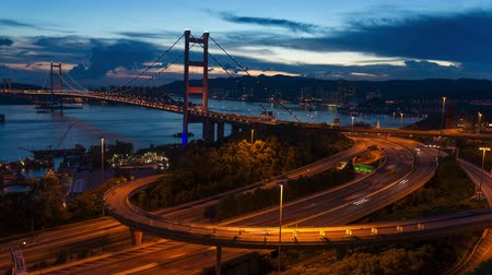 mosty : tsing ma bridge time lapse Wideo