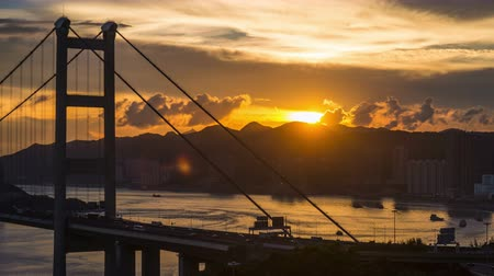 mosty : Tsing Ma bridge time lapse sun set