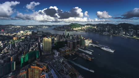 stadsgezicht : Hong kong skyline timelapse Stockvideo