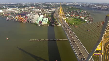 tajlandia : Industrial Ring suspension bridge in Bangkok city Thailand, aerial shot