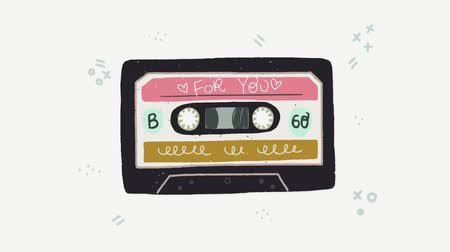 Cartoon flat style playing audio cassette animation. Vintage music cassette tape with For You inscription. Perfect for 80s 90s nostalgical party, music mix, event, festival.