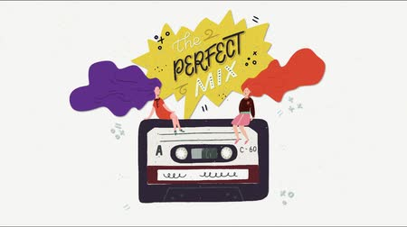 Cartoon flat style playing audio cassette tape animation. Animated hand lettering The Perfect Mix phrase, sitting girls with flying hair. Perfect for 80s 90s nostalgical party, music event, festival. Stock mozgókép