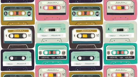 Motion illustration. Old audio cassette background. Moving bright cartoon mix tapes. Retro wave 2D animation. Perfect background for back to 80s 90s nostalgical party, music event, festival, blog. Stock mozgókép