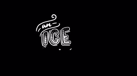 An Ice cream animated hand lettering phrase with sketch of gelato in cornet. Hand lettered text. White handwritten calligraphy text on transparent background, motion graphic video with alpha channel. Dostupné videozáznamy