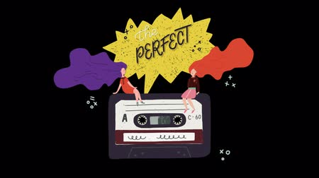 Motion graphic retro cassette spinning with two streaming long hear girls and animated lettering text The perfect mix on a speech bubble. Old school cartoon style video on transparent background