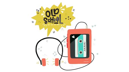 Cartoon motion graphic of the cassette player, playing music and sound came out of the headphones. Old School hand lettering. Perfect for 80s 90s nostalgical party, music event, festival. 2D animation