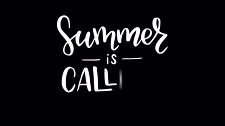 Summer is calling hand written lettering animation with monogram decorative elements.  White animated calligraphy text on transparent background. Inviting and tantalizing motion graphic. Alpha channel Stock mozgókép