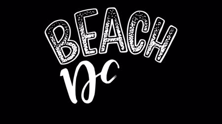 Beach day animated lettering text in summer style. Motion graphic popping up handwriting letters on transparent background. Alpha channel 2d handwritten inscription for ecard, photo cover, video intro