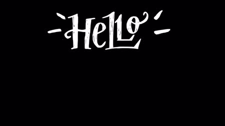 Hello summer animated lettering with popping up and paint stroke effects. Hand written motion graphic text on transparent background. Calligraphic handdrawn 2d inscription summertime mood alpha channel Dostupné videozáznamy