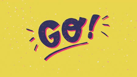elle çizilmiş : 3 2 1 Go hand drawn lettering inscription in motion on the mustard background. Animated countdown with coloured figures three two one and word Go. 2d video of numeral count down before start or outset Stok Video