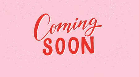 Animated Coming Soon hand drawn lettering text on the pink pastel background. Motion graphic with red letters for an advert of a new product. Moving inscription for icon, e-shop, store, newsletter. 2d