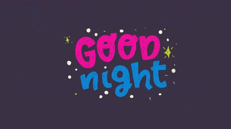 fráze : Good Night animated hand drawn lettering phrase on the dark background with shining stars. Handwritten typographic text in motion. 2d evening good bye words for screen saver. Magic night motion graphic