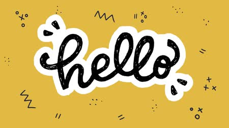 hardal : Animated Hello hand drawn lettering text. Moving handwriting script with white outline on the mustard background with doodle elements. Comic cartoon style welcoming in motion graphic. 2d video clip Stok Video