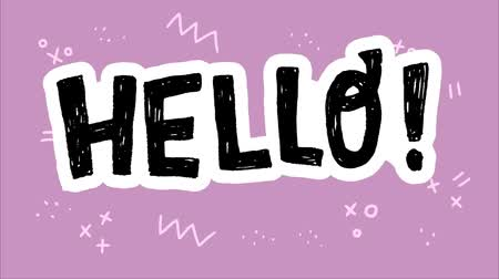 elle çizilmiş : Animated Hello typographic lettering with exclamation point. Hand drawn text with moving doodle elements. 2d cartoon with rough texture welcoming word. Comic style greeting text in animation footage