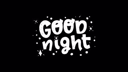 frase : Animated hand drawn lettering phrase Good Night on transparent background with shining stars. Motion graphic with handwritten sketchy text. Evening good bye words animation for screen alpha channel