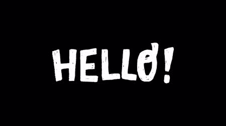 szlogen : Animated hand drawn lettering text Hello with exclamation point on transparent background. Moving rough texture letters. 2d video with typographic welcoming inscription saying hi. Alpha channel