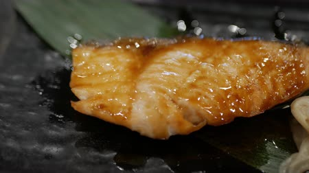 seafood recipe : Teriyaki salmon. grilled salmon fillet glazed in soy sauce. Japanese cuisine