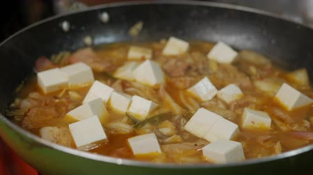 tofu : Boiling Kimchi Jjigae (Kimchi stew). Korean soup with spicy kimchi tofu and other ingredients.