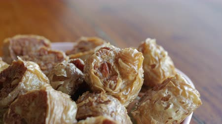 hoi an : Crab jujube or Hoi jo a Deep Fried Crab meat roll. Chinese cuisine. Stock Footage