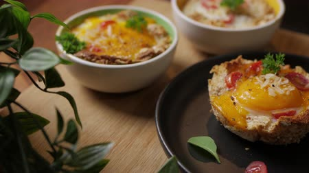 pan fried : Egg in the Basket, bullseye eggs, eggs baked in a bread basket. Stock Footage