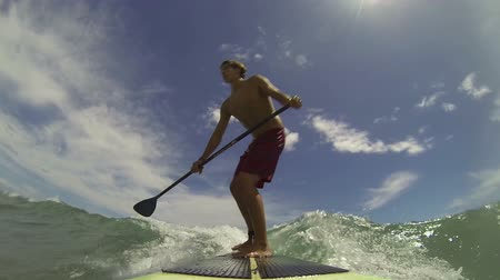 point of view pov : Young Man Surfing Wave Point Of View