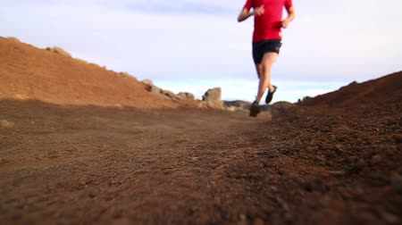 adam : Low Angle of Young Fit Man Jogging On Dirt Trail (Slow Motion) Stok Video