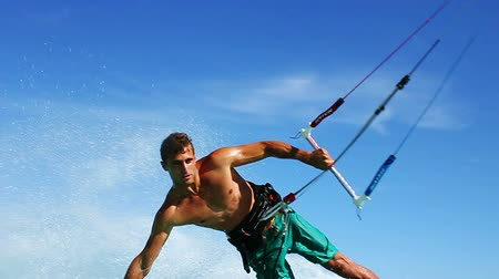 серфер : Young Fit Male Kite Boarding In Ocean, Extreme Summer Sport HD