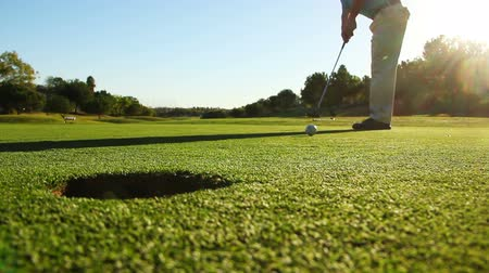 golfen : Man Golfen En die Bal In Gat Stockvideo