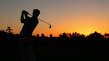 fitnes : Silhouette Golfer At Sunset