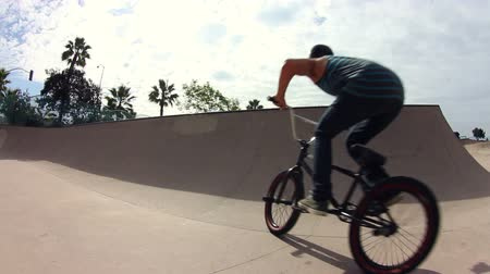 bicycle : Extreme BMX Bike Trick Skatepark Stock Footage
