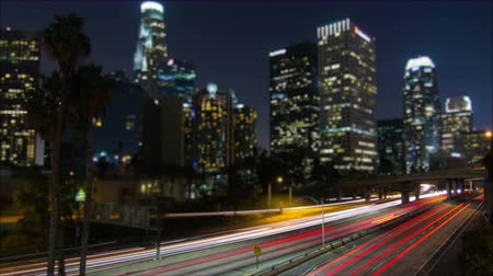 večer : 4k Tilt Shift Time Lapse Downtown Los Angeles Freeway At Night  Dostupné videozáznamy