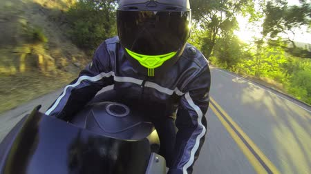 motocykl : POV Man Riding Motorcycle At Sunset  Wideo