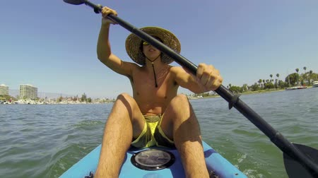 kayak : POV Man Kayaking In Ocean  Stock Footage