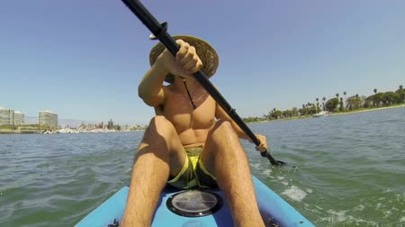 kayak : POV Man Kayaking In Summer  Stock Footage