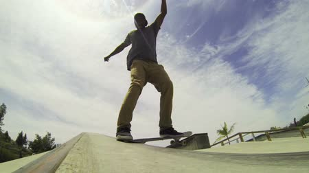 skate : Slow Motion Man Skateboarding In Skatepark  Stock Footage