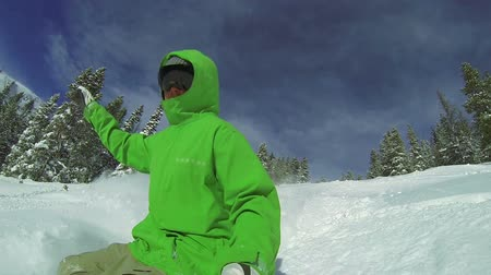 point of view pov : Slow Motion POV Extreme Snowboarding Winter Sport Stock Footage