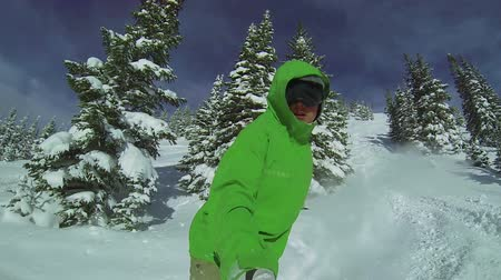 snowboard : Slow Motion POV Extreme Snowboarding Winter Sport Stok Video
