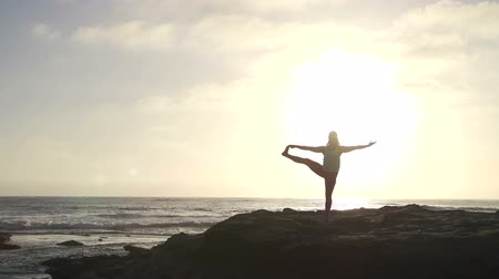 Young Woman Silhouette Practicing Yoga On The Beach At Sunset