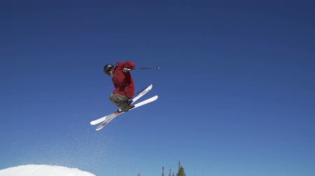 Slow Motion Extreme Skier Doing Trick Off Jump