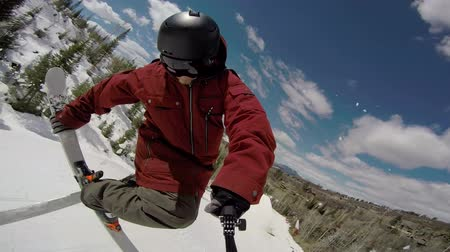 POV Extreme Skier Doing 360 Wideo