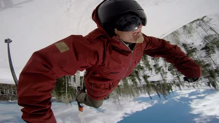 esqui : POV Extreme Skier Doing Backflip Stock Footage