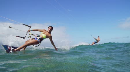 Couple Kite Surfing Ocean, Extreme Summer Sport