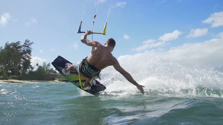 Young Man Kite Surfing In Ocean, Extreme Summer Sport