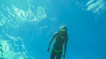 Subacquea Angolo Looking up della donna snorkeling in Blue Ocean Water Filmati Stock
